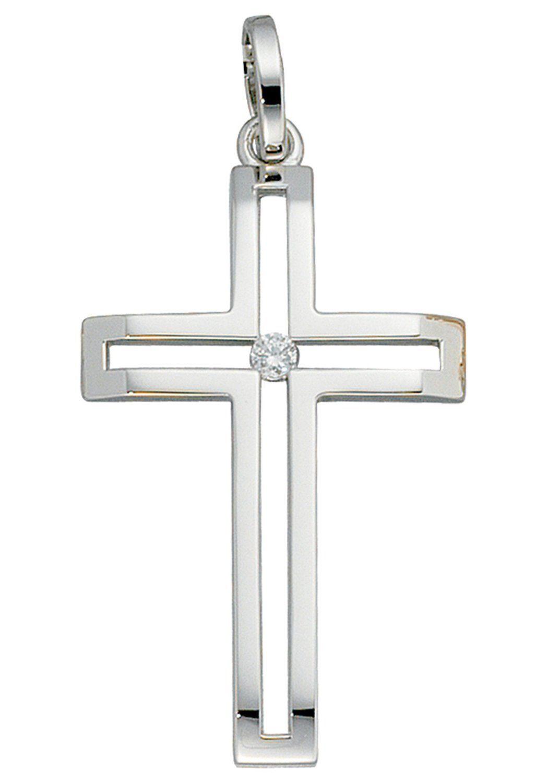 JOBO Kreuzanhänger Kreuz 585 Weißgold mit 1 Diamant