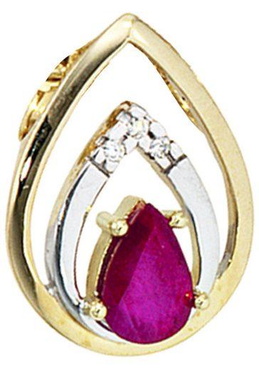 JOBO Kettenanhänger Tropfen 585 Gold mit 3 Diamanten und Rubin