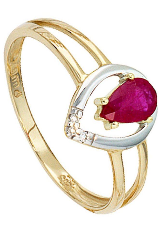 JOBO Diamantring 585 Gold bicolor mit 3 Diamanten und Rubin | Schmuck > Ringe > Diamantringe | Goldfarben | JOBO