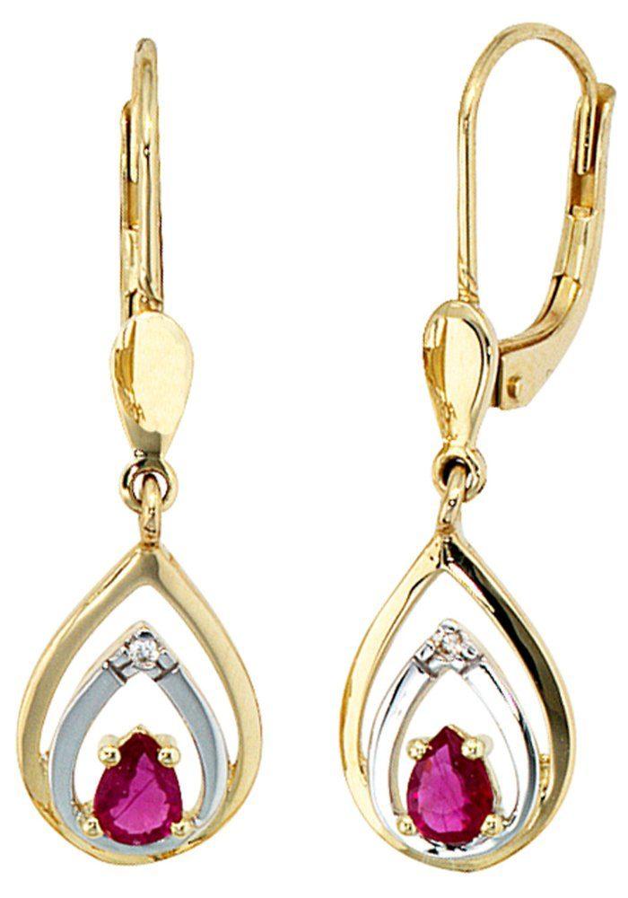 JOBO Paar Ohrhänger 585 Gold mit 2 Diamanten und Rubin