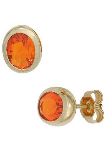 JOBO Paar Ohrstecker, oval 585 Gold mit Feueropal