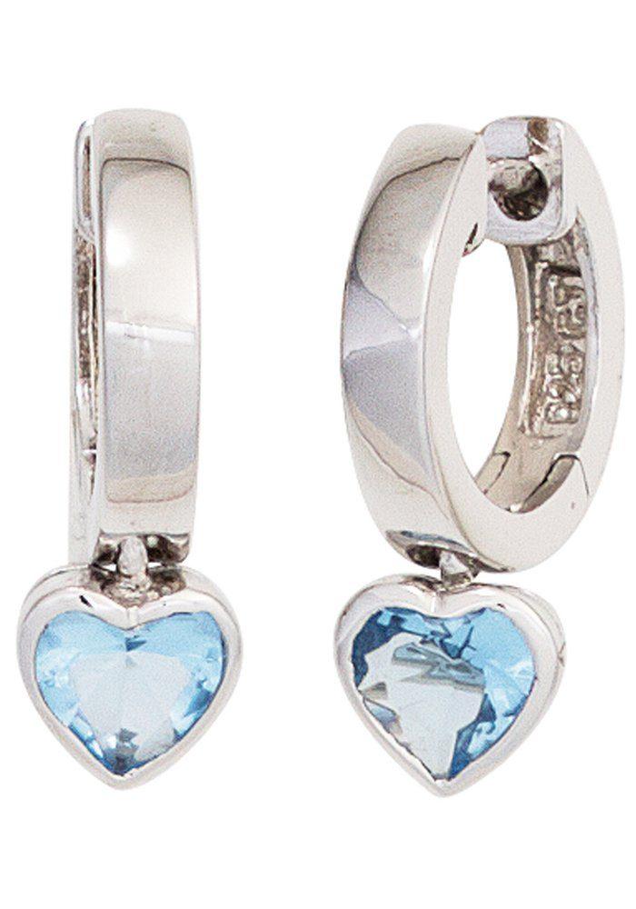 JOBO Paar Creolen Herz 925 Silber mit Zirkonia