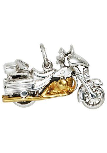 JOBO Kettenanhänger »Motorrad«, 925 Silber bicolor vergoldet