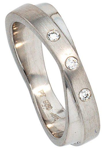 JOBO Diamantring 950 Platin mit 3 Diamanten