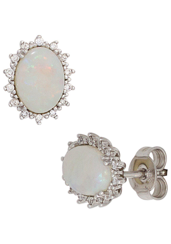 JOBO Paar Ohrstecker oval 585 Weißgold 28 Diamanten und Opal-Cabochons