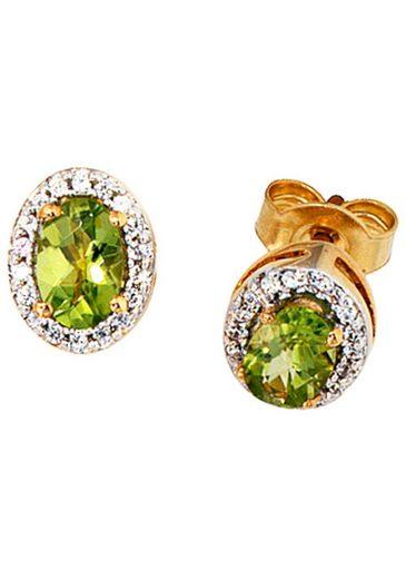 JOBO Paar Ohrstecker, oval 585 Gold mit 36 Diamanten und Peridot