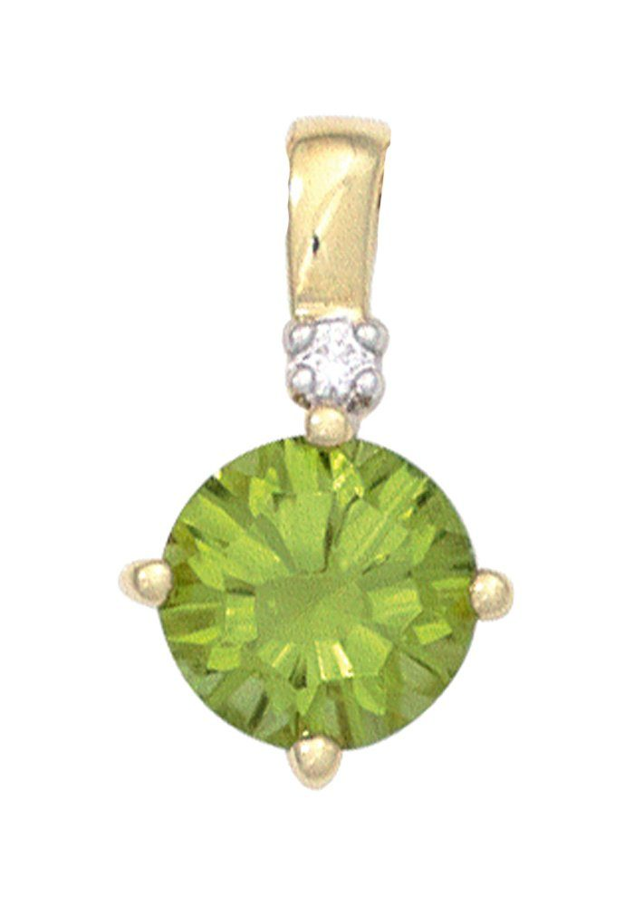 JOBO Runder Anhänger rund 585 Gold mit 1 Diamant und Peridot