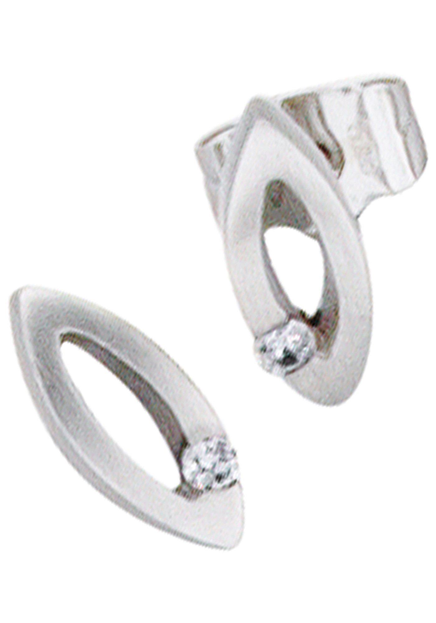 JOBO Paar Ohrstecker oval 950 Platin mit 2 Diamanten