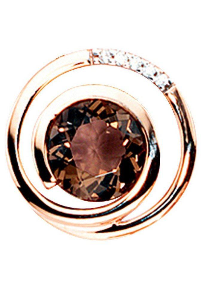 JOBO Kettenanhänger 585 Roségold mit 5 Diamanten und Rauchquarz | Schmuck > Halsketten > Ketten ohne Anhänger | Goldfarben | JOBO