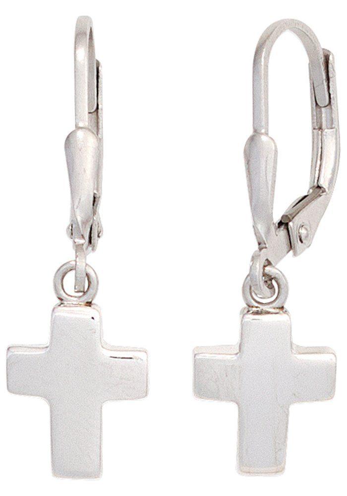 JOBO Paar Ohrhänger Kreuz 925 Silber