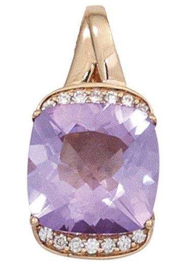 JOBO Kettenanhänger 585 Roségold mit 14 Diamanten und Amethyst