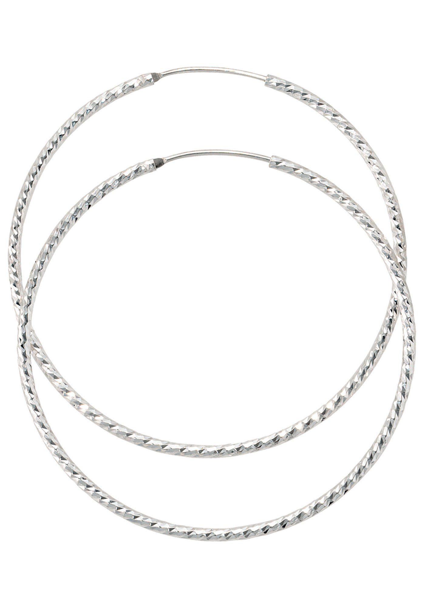 JOBO Paar Creolen rund 925 Silber diamantiert