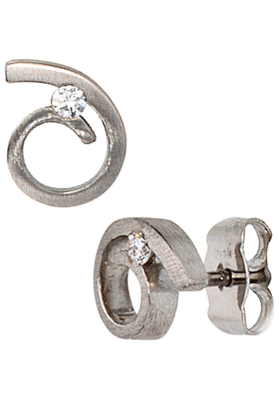 JOBO Paar Ohrstecker 950 Platin mit 2 Diamanten