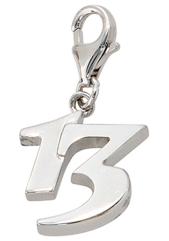 JOBO Einh/änger Charm 13 Dreizehn 925 Sterling Silber rhodiniert