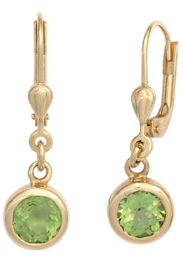 JOBO Paar Ohrhänger rund 585 Gold mit Peridot