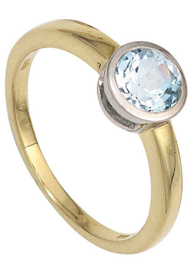 JOBO Goldring 585 Gold bicolor mit Blautopas | Schmuck > Ringe > Goldringe | Goldfarben | JOBO