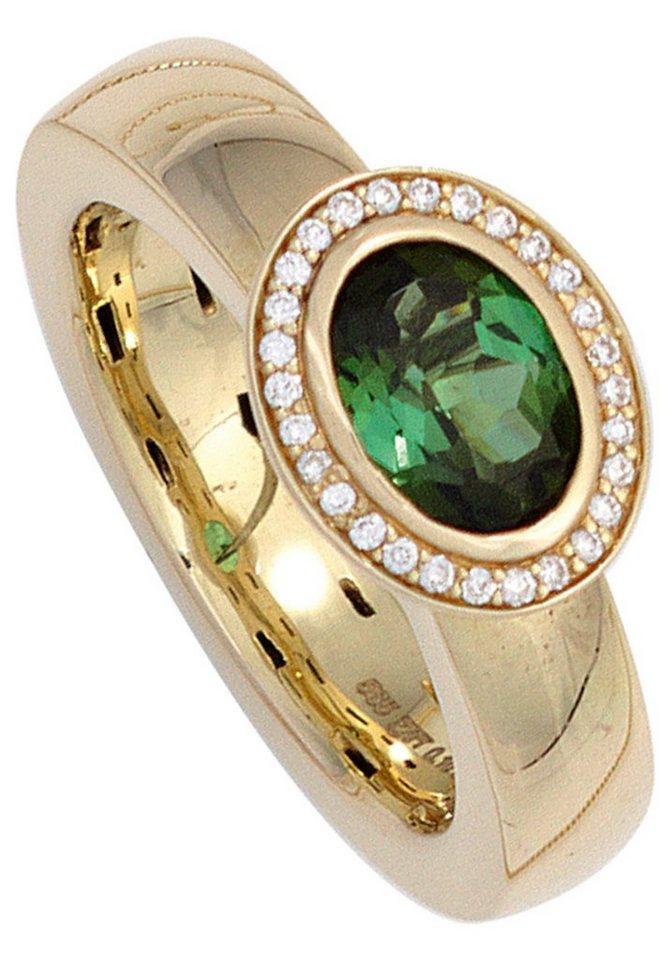jobo diamantring 585 gold mit 28 diamanten und turmalin online kaufen otto. Black Bedroom Furniture Sets. Home Design Ideas