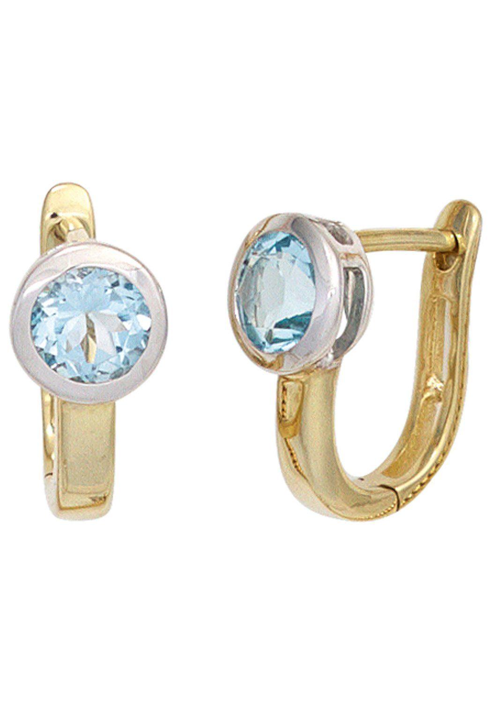 JOBO Paar Creolen 585 Gold bicolor mit Blautopas