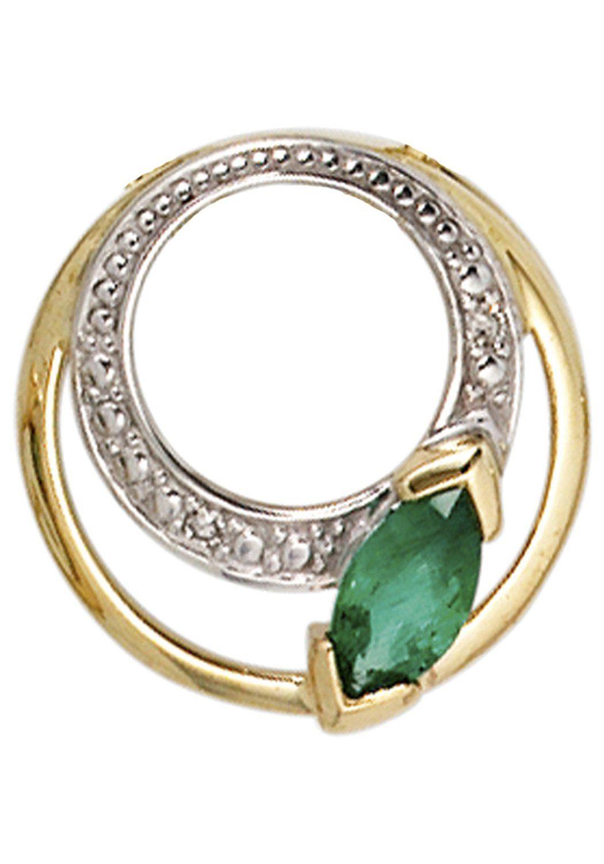 JOBO Runder Anhänger rund 585 Gold mit 2 Diamanten und Smaragd