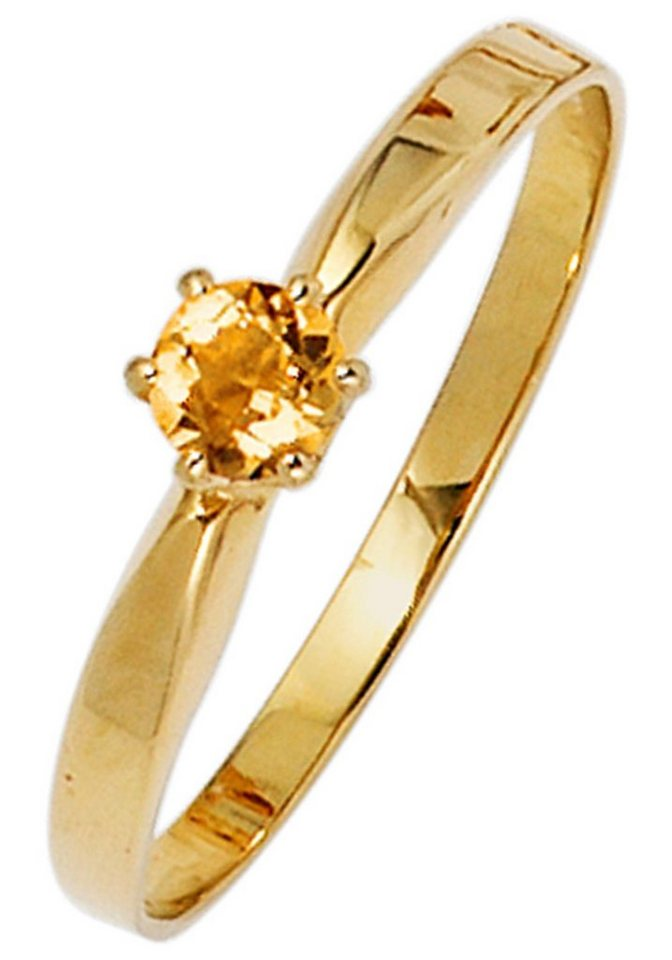 JOBO Goldring 585 Gold mit Citrin   Schmuck > Ringe > Goldringe   Goldfarben   JOBO