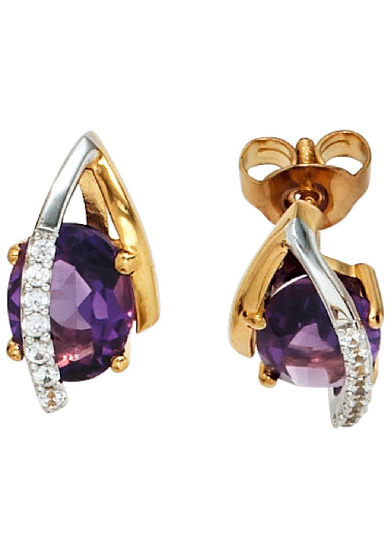 JOBO Paar Ohrstecker 585 Gelbgold Weißgold 14 Diamanten und Amethyst