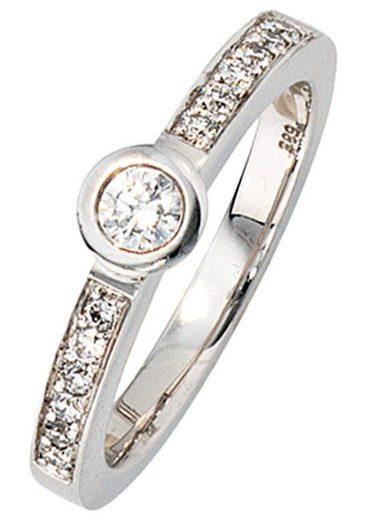 JOBO Diamantring, 585 Weißgold mit 13 Diamanten