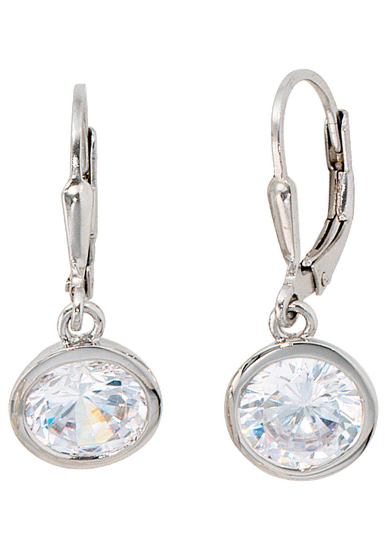JOBO Paar Ohrhänger rund 925 Silber mit Zirkonia