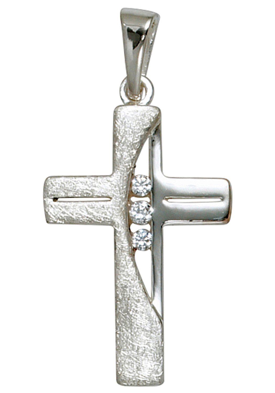 JOBO Kreuzanhänger Kreuz 925 Silber mit Zirkonia