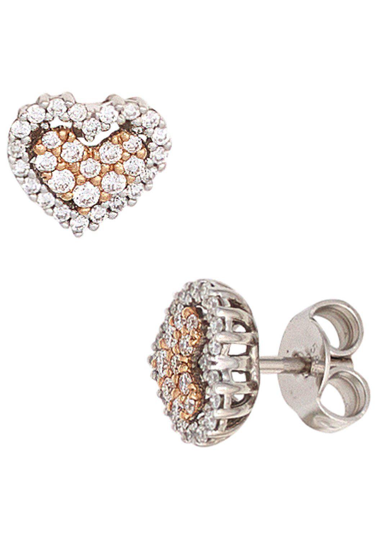 JOBO Paar Ohrstecker Herz 585 Weißgold Roségold mit 60 Diamanten