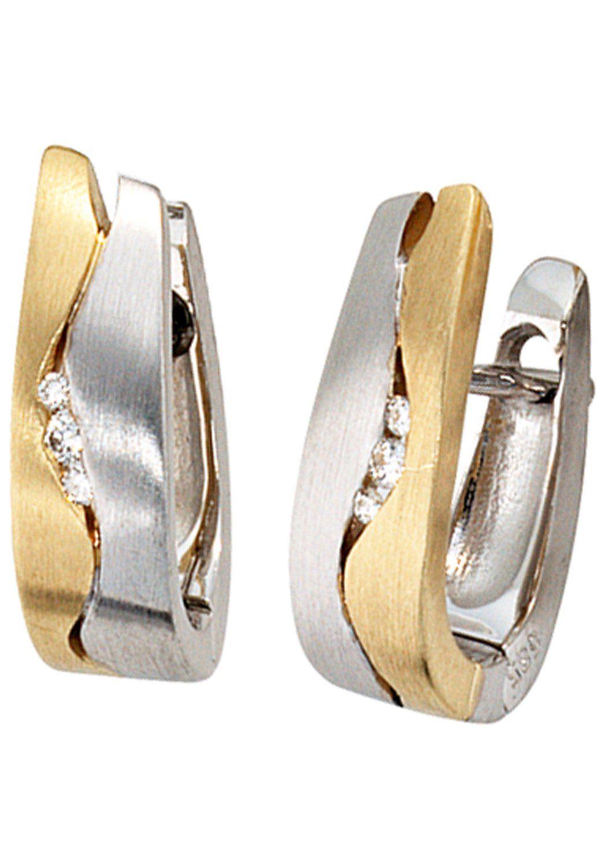 JOBO Paar Creolen 585 Gold bicolor mit 6 Diamanten
