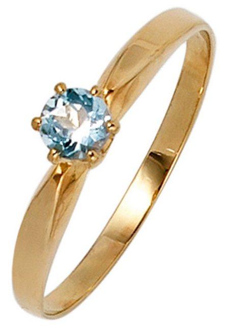 JOBO Fingerring 585 Gold mit Aquamarin