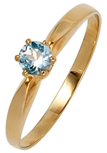 JOBO Fingerring, 585 Gold mit Aquamarin