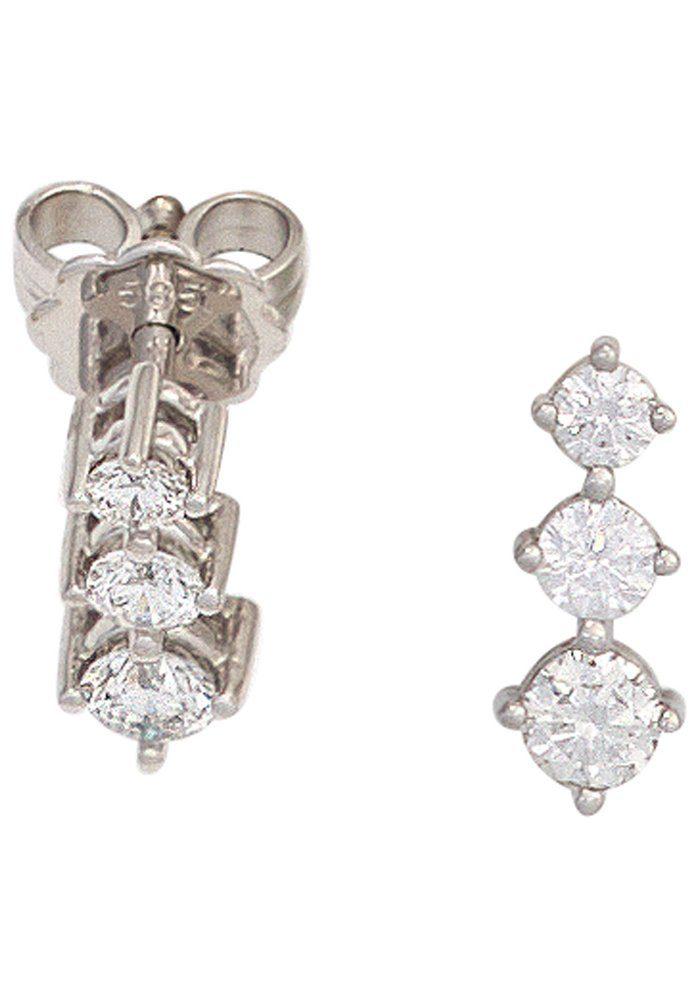 JOBO Paar Ohrstecker 585 Weißgold mit 6 Diamanten
