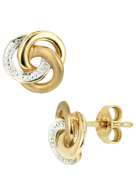 JOBO Paar Ohrstecker, Knoten 585 Gold bicolor mit 2 Diamanten online kaufen   OTTO