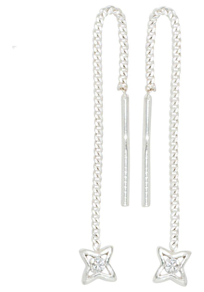 JOBO Paar Ohrhänger »Stern« 925 Silber mit Zirkonia
