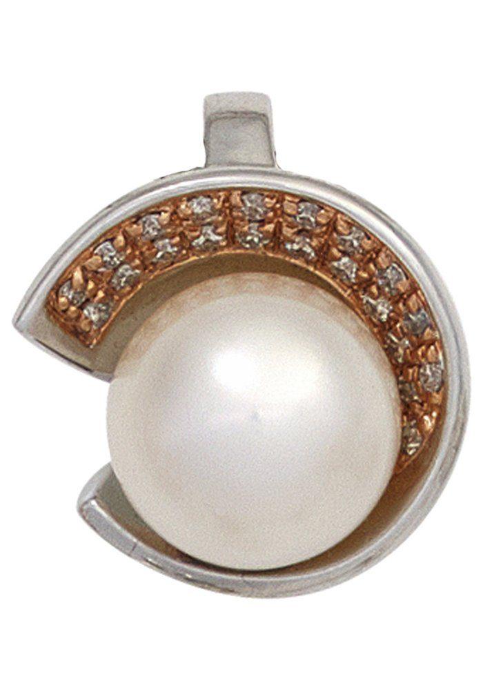 JOBO Perlenanhänger 585 Weißgold 21 Diamanten und Süßwasser-Zuchtperle