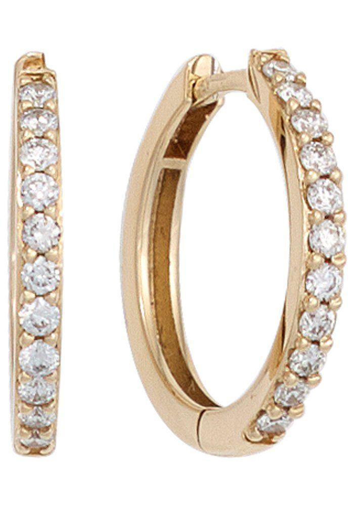 JOBO Paar Creolen 585 Gold mit 22 Diamanten