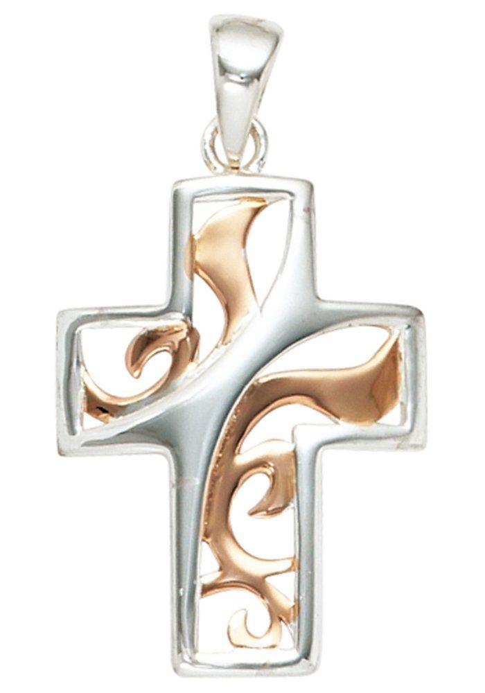 JOBO Kreuzanhänger Kreuz 925 Silber bicolor vergoldet