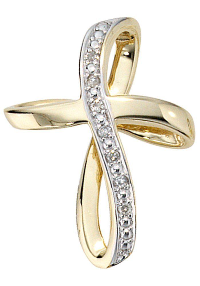 JOBO Kreuzanhänger, Kreuz 585 Gold mit 7 Diamanten