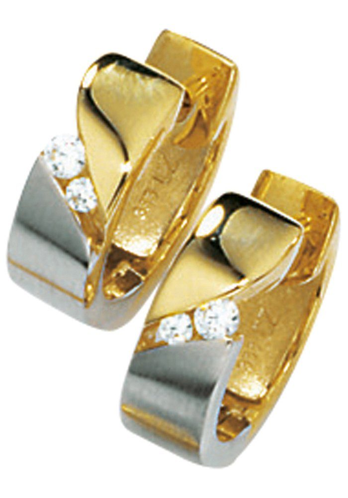 JOBO Paar Creolen 333 Gold bicolor mit Zirkonia