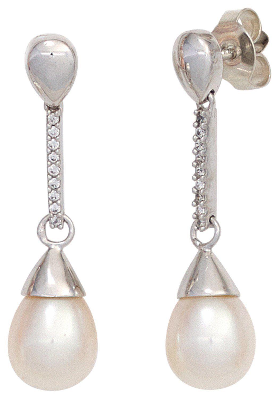 JOBO Perlenohrringe 585 Weißgold 18 Diamanten 2 Süßwasser Perlen
