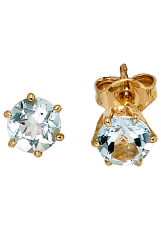 Kaufen Rund 4 Paar Mm Ca5 585 Jobo Gold AquamarinDurchmesser Online Mit Ohrstecker 2EYWIeDH9