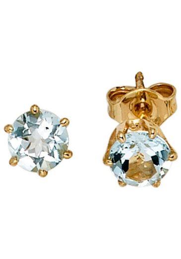JOBO Paar Ohrstecker, rund 585 Gold mit Aquamarin