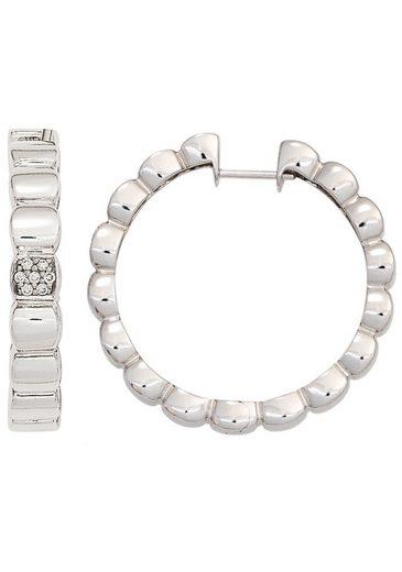 JOBO Paar Creolen, 585 Weißgold mit 14 Diamanten