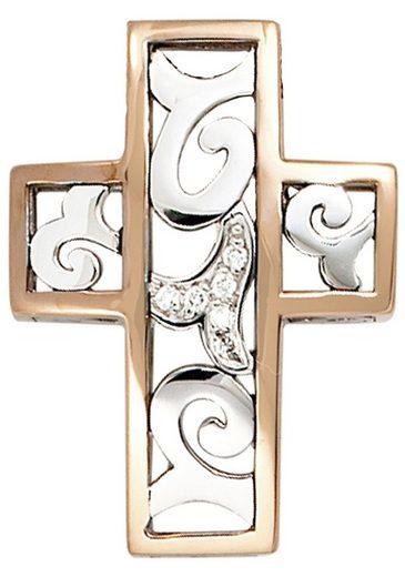 JOBO Kreuzanhänger, Kreuz 585 Gold bicolor mit 6 Diamanten
