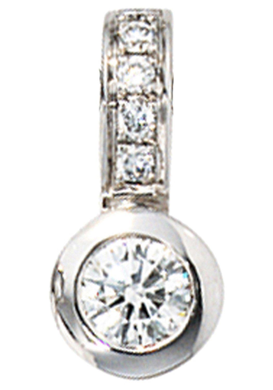 JOBO Kettenanhänger 585 Weißgold mit 6 Diamanten