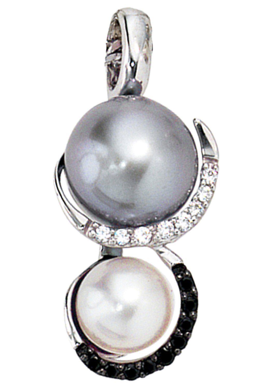JOBO Perlenanhänger 585 Weißgold 17 Diamanten 2 Süßwasser-Zuchtperlen