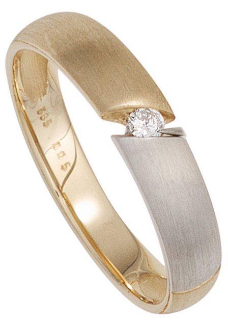 JOBO Solitärring, 585 Gold bicolor mit Diamant 0,05 ct. | Schmuck > Ringe > Solitär Ringe | Jobo