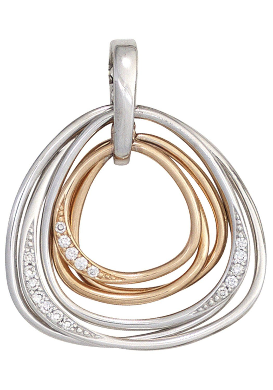 JOBO Kettenanhänger 585 Gold bicolor mit 17 Diamanten