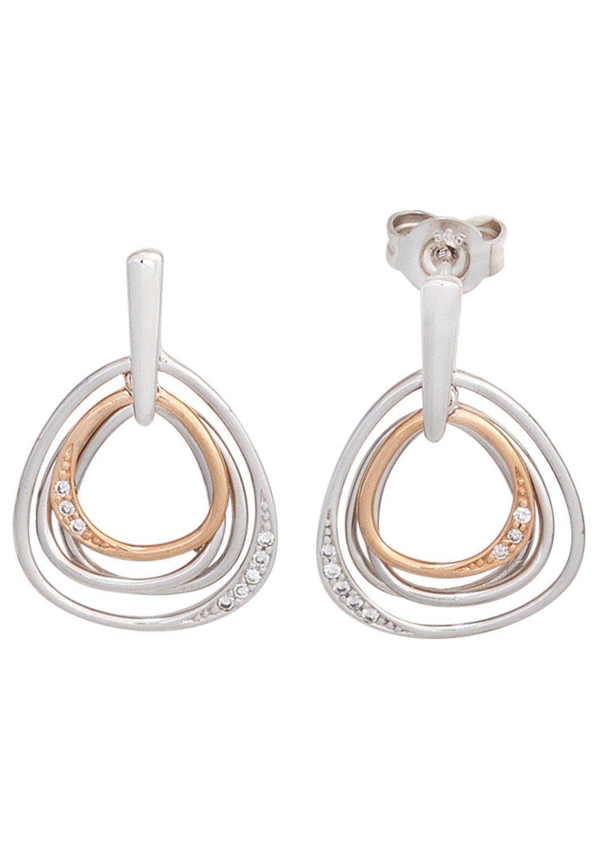 JOBO Paar Ohrhänger 585 Gold bicolor mit 16 Diamanten